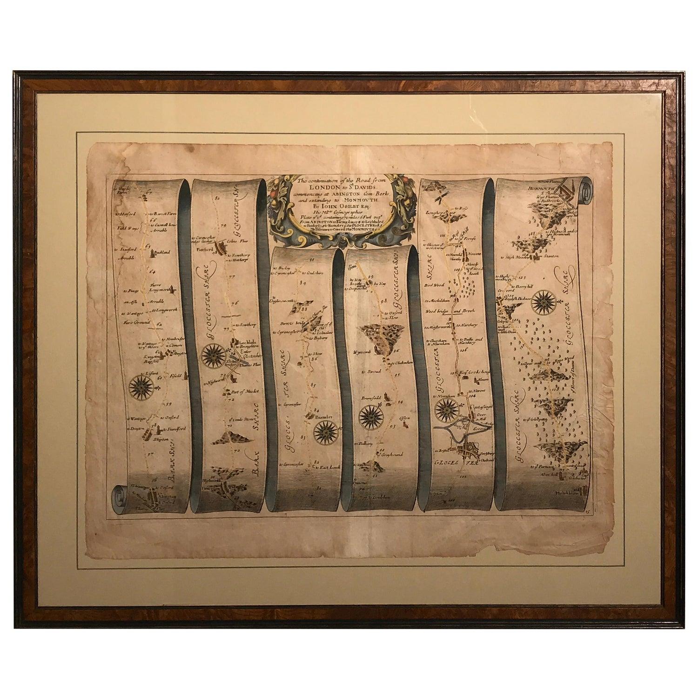 Road Map, John Ogilby, London, St David's, Britannia, No 15, Abingdon, Monmouth