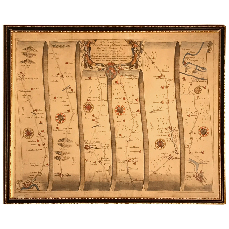 Road Map, John Ogilby, No 75, Kings Lyn, Harwich, Britannia