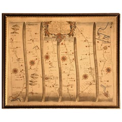 Road Map, John Ogilby, No 75, Kings Lyn, Harwich, Britannia