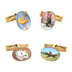 Road to Ruins Cufflinks Vintage 18 Karat Gold Enamel Gambling Cards Horse Racing