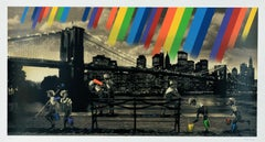 ROAMCOUCH: Brooklyn Bridge (Sepia) - Screen print on paper, Street art, Graffiti