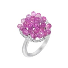 Roaring 1920s Inspired Pink Sapphire White Diamond White Gold Drop Ring