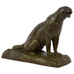 """Roaring Jaguar"" Art Deco French Bronze Sculpture by Adolphe Geoffroy & Susse"