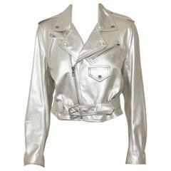 Roaring Ralph Lauren Silver Tone Metallic Leather Motorcycle Jacket