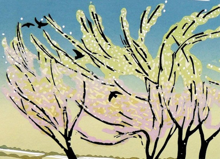 Blossom in the Wind [2021] Limited Edition Landscapes and seascapes Linocut Edition number 50 in edition Image size: H:33 cm x W:44 cm Complete Size of Unframed Work: H:49 cm x W:61 cm x D:0.2cm Sold Unframed Please note that insitu images are