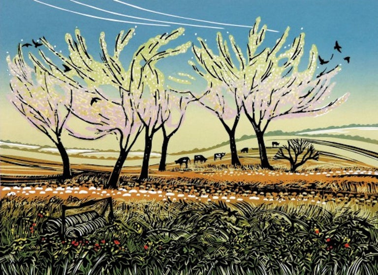 Rob Barnes, Blossom in the Wind, Limited Edition Landscape Print, Affordable Art - Gray Animal Print by Rob Barnes