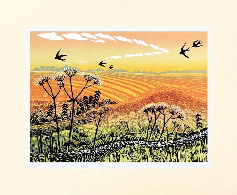 Rob Barnes, Swallows Returning, Limited Edition Linocut Print, Landscape Art 1