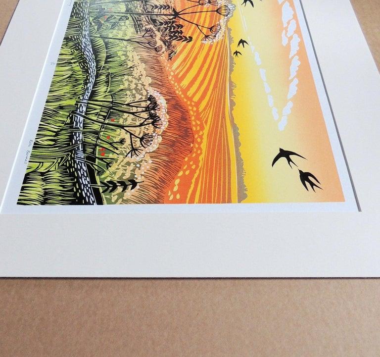 Rob Barnes, Swallows Returning, Limited Edition Linocut Print, Landscape Art 2