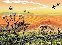Rob Barnes, Swallows Returning, Limited Edition Linocut Print, Landscape Art