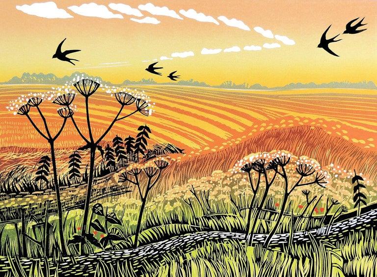 Rob Barnes, Swallows Returning, Limited Edition Linocut Print, Landscape Art - Orange Landscape Print by Rob Barnes