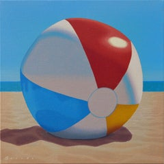 """""""Beach Ball"""" oil painting of a beachball laying in the sand with blue sky behind"""