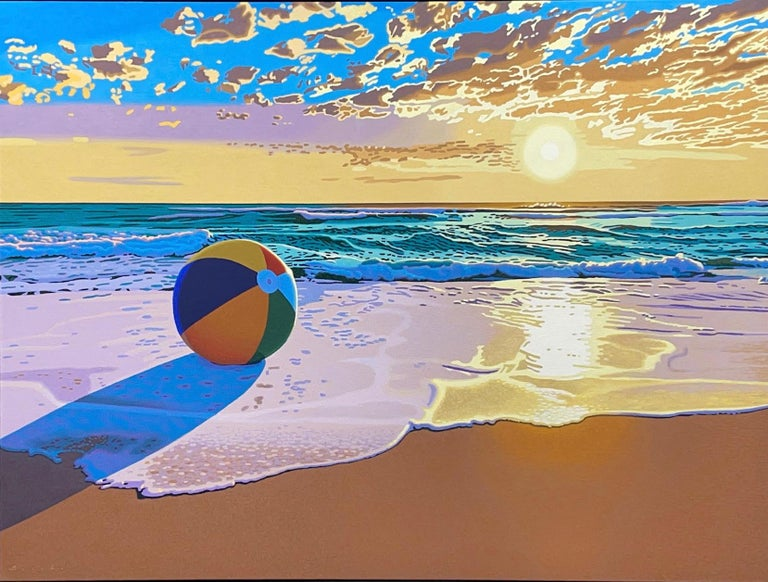 """Rob Brooks Still-Life Painting - """"Beach Ball Sunset"""" Oil painting of a beach ball on the ocean shore with sunset"""