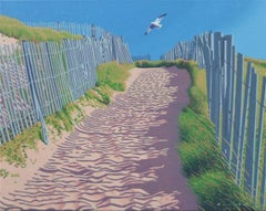 """Beach Path"" oil painting of trail leading to the beach with a bird and blue sky"