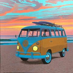 """Dawn Patrol"" photorealist oil painting of a yellow Volkswagen Bus with sunset"