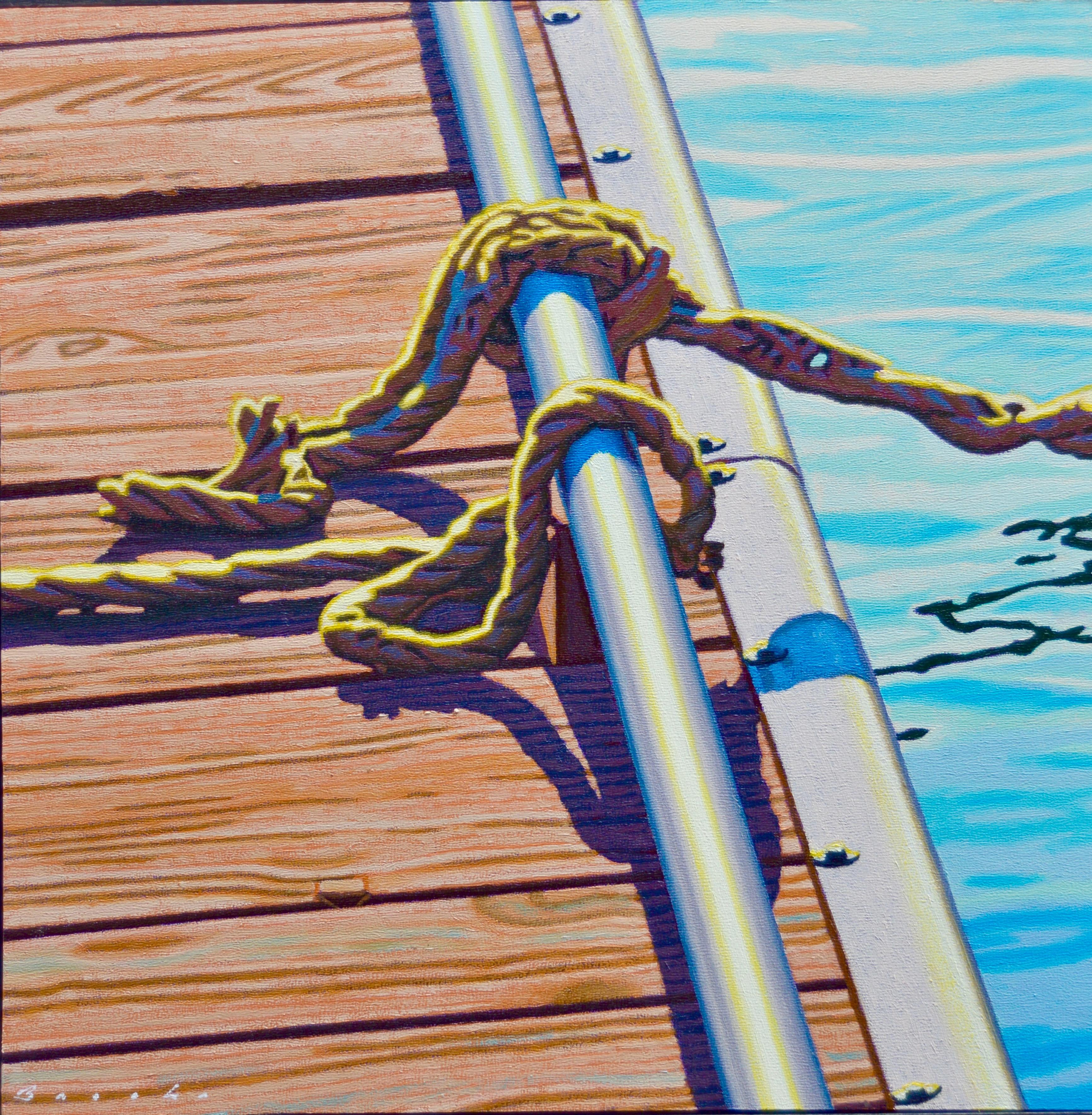 """""""Dock Knots"""" Rope Tied on a Dock in Dramatic Light with Reflection in Water"""