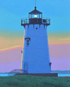 """Edgartown Light"" Photo realistic oil painting of Martha's Vineyard lighthouse"