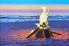 """""""Flamma Luna"""" oil painting of a bonfire on the beach with setting sun behind"""