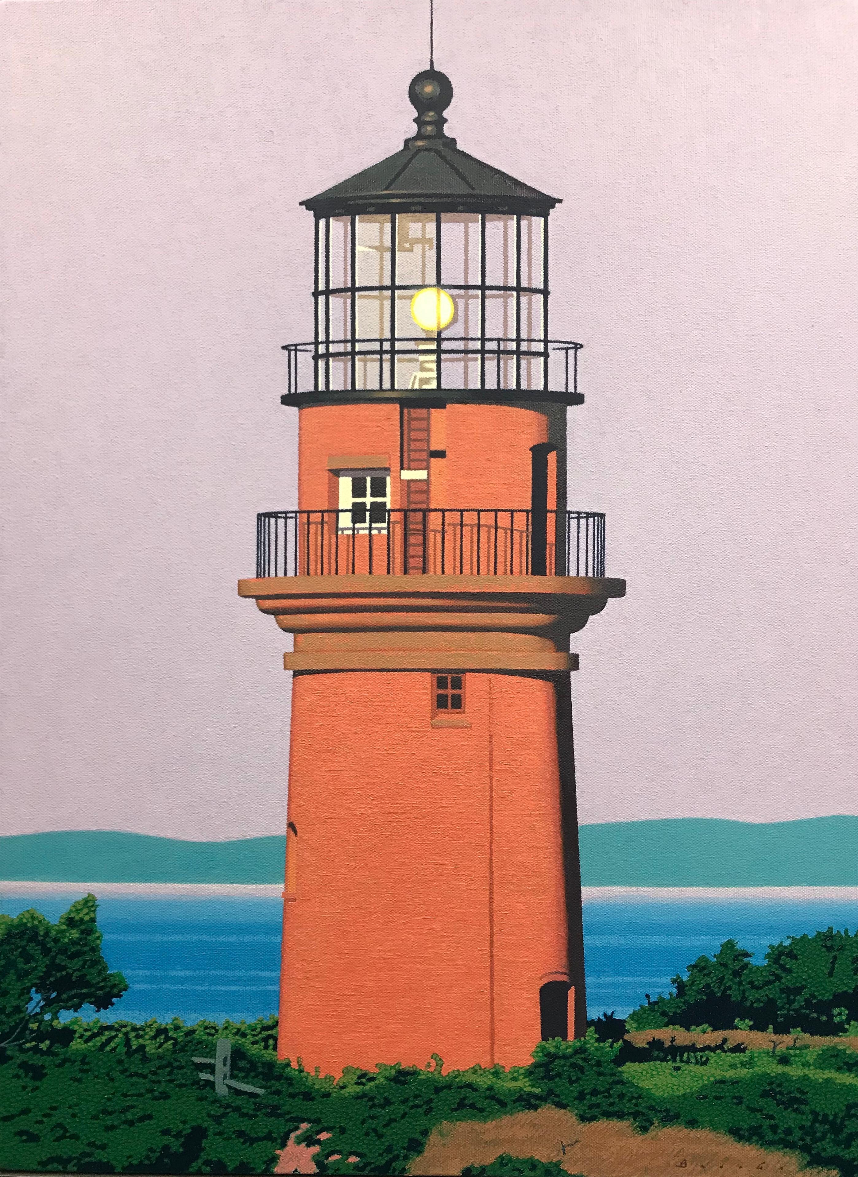 """Gay Head Light"" Photorealistic oil painting of a Martha's Vineyard lighthouse"