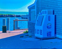 """""""Ice Bin"""" oil painting of and old-fashion Ice bin with docks & jetty in back"""