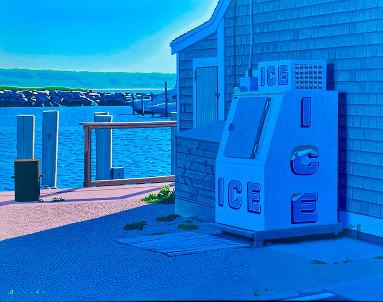 """Rob Brooks Still-Life Painting - """"Ice Bin"""" oil painting of and old-fashion Ice bin with docks & jetty in back"""