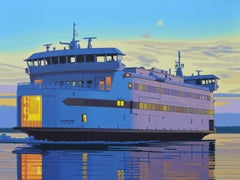 """Late Boat"" photorealistic oil painting of a ferry boat to Martha's Vineyard"