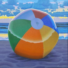 """""""Left Behind"""" photorealistic painting of a colorful ball on the beach"""