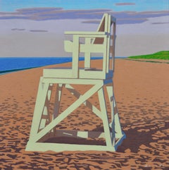 """Lifegaurd Chair"" Painting of a Beach with Bright Colors in Early Morning Light"