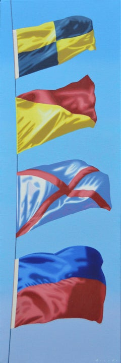 """L.O.V.E"" Oil painting of four colorful flags with blue sky behind"