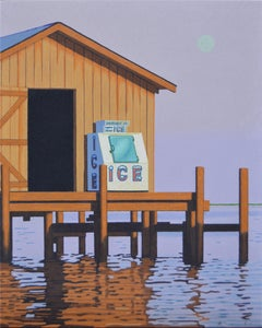 """Moonrise Ice"" Photorealistic oil painting of an icebox on a dock, purple sky"