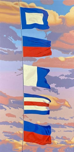 """""""PEACE"""" photorealistic oil painting of five flags with pink and purple clouds"""