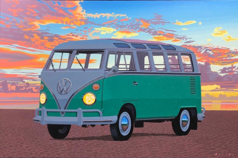 """Rob Brooks Landscape Painting - """"Samba, Afterglow"""" photorealistic oil painting of green VW bus on beach, sunset"""
