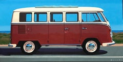 """Samba at State"" Photorealist oil painting of maroon vintage Volkswagen Bus"