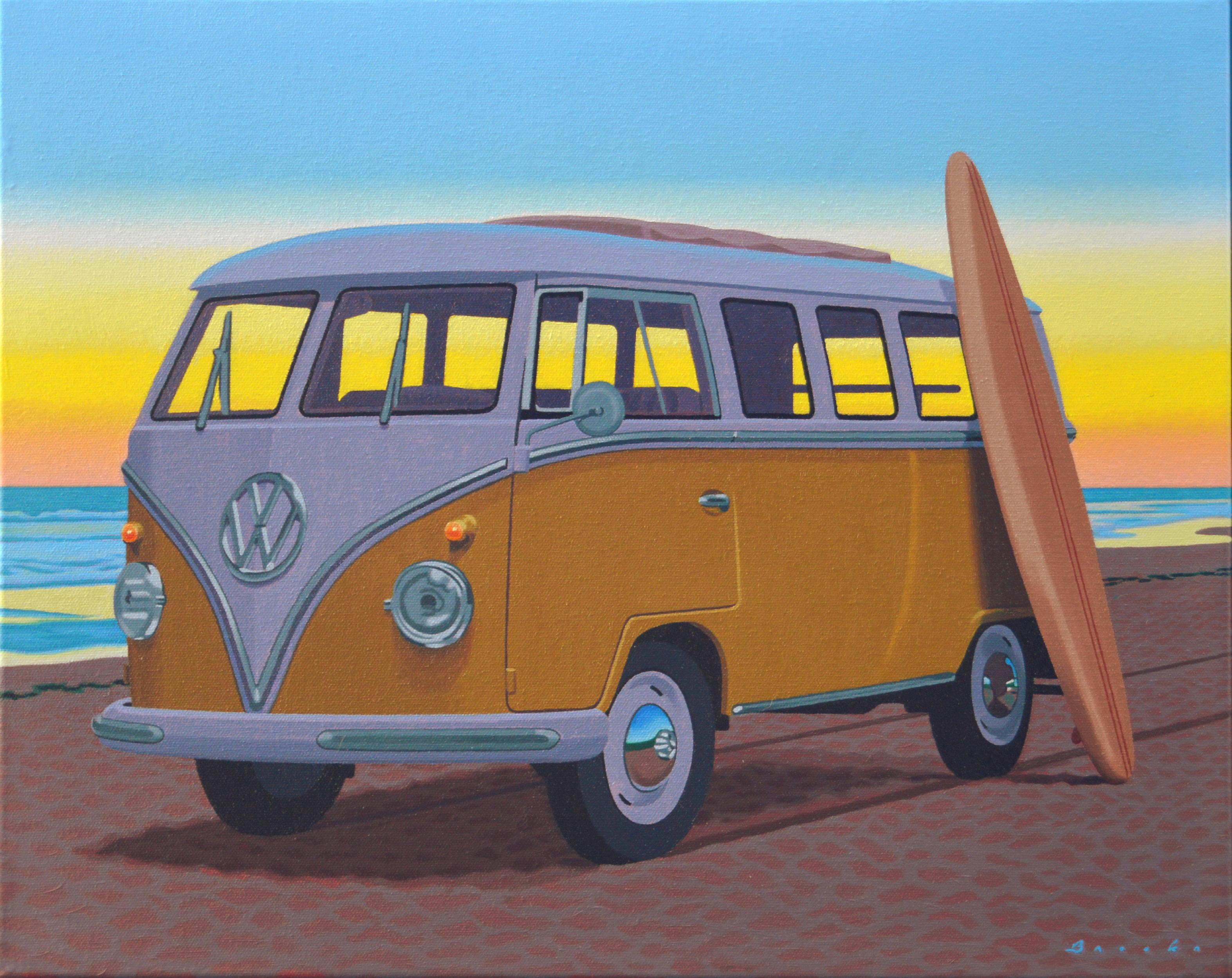 """""""Samba at Sunset"""" oil painting of surfboard leaning up against an orange VW bus"""