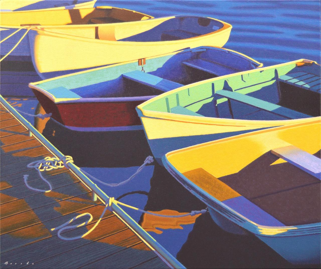 """""""""""Skiffs"""" oil painting of colorful row boats lined up at a dock in the water"""