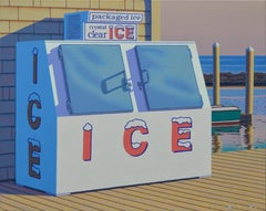 """""""Summer Ice"""" photorealistic oil painting of a white ice box on a dock"""