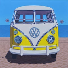 """""""Sunny Samba"""" Oil painting of a yellow vintage Volkswagen bus on the beach"""