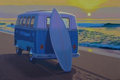 """Sunset Samba"" photorealistic oil painting of vintage VW bus on the beach"