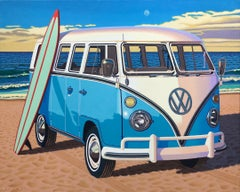 """Surfboard Samba"" photorealistic oil painting of vintage blue Volkswagen bus"