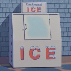 """Weathered Ice"" Oil painting of an ice box in front of a shingled building"