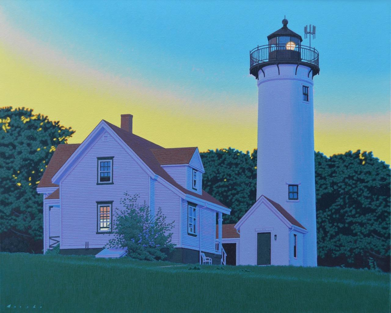 """""""West Chop"""" photorealist oil painting of Martha's Vineyard lighthouse as sunset"""