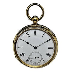 Rob Crook 18 Karat Yellow Gold Open Faced Keywind Pocket Watch, circa 1845