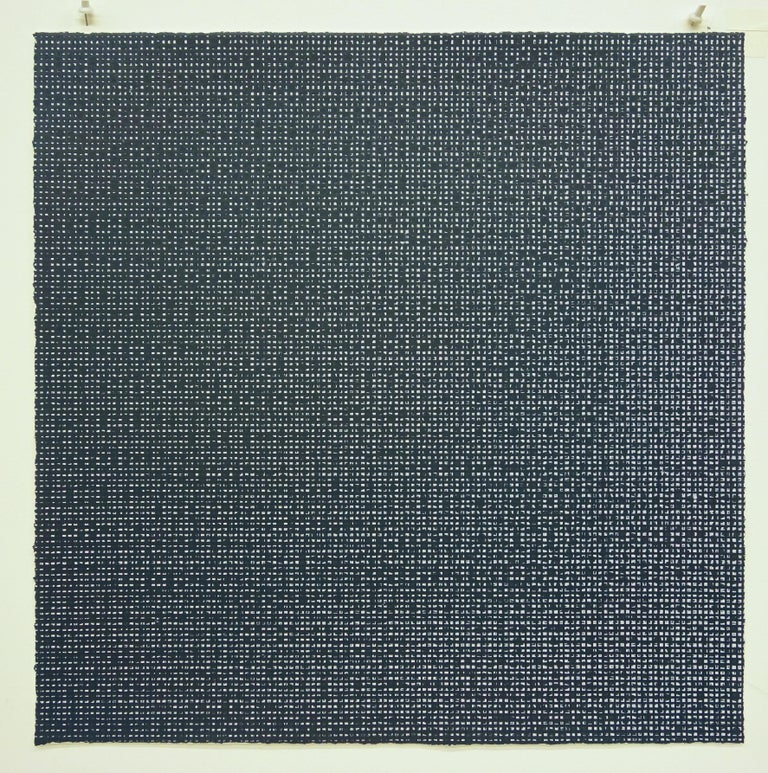 The works by Rob de Oude are composed of meticulously placed repeated lines, with the overlapping lines revealing geometric shapes and patterns. Repeatedly using a single unit, like a straight line, displays the infinite possibilities of a