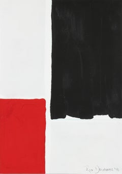 """""""Black and Red I"""" Gouache on Paper, 2018"""