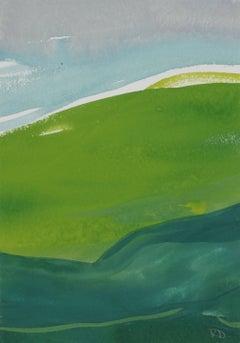 """""""French Hillside IV"""" Gouache on Paper Landscape, 2017"""