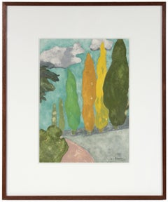 """""""Tuscan Landscape II"""" Gouache on Paper with Cypress Trees"""