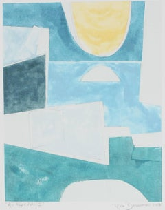 """""""An Azure Place II"""" Abstract Monotype in Blue, 2017"""