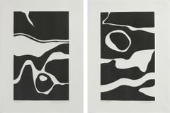 """Black Tides I"" & ""Black Tides II"" Contemporary Monotypes on Paper Diptych"