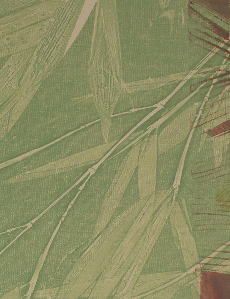 Contemporary Minimalist Bamboo Monotype in Green, Asian Aesthetic, 2009 - Brown Still-Life Print by Rob Delamater