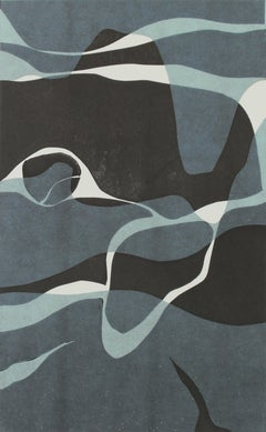 """Naiad I"" Contemporary Abstract Monotype on Paper in Shades of Blue"