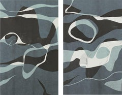 """""""Naiad I & II"""" Diptych Contemporary Abstract Monotypes on Paper in Blue"""